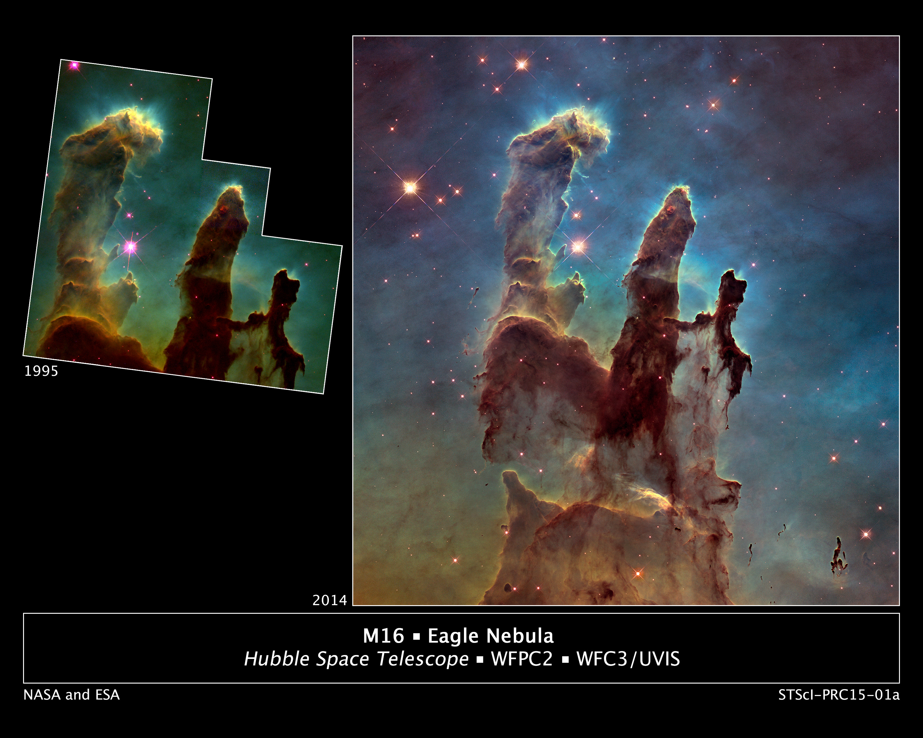 """Astronomers using NASA's Hubble Space Telescope have assembled a bigger and sharper photograph of the iconic Eagle Nebula's """"Pillars of Creation"""" (right); the original 1995 Hubble image is shown at left. Credits: NASA/ESA/Hubble Heritage Team (STScI/AURA)/J. Hester, P. Scowen (Arizona State U.)"""