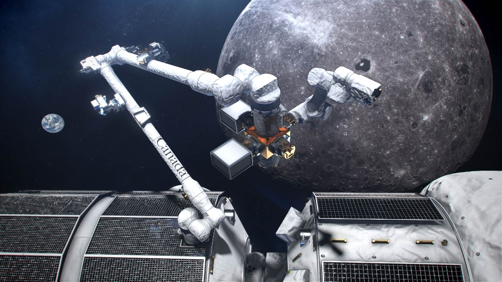 An artist's concept of Canada's smart robotic system