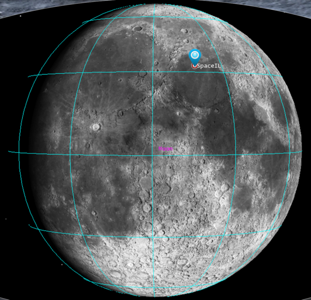 SpaceIL's spacecraft will land on a site within Mare Serenitatis, on the northern hemisphere of the Moon