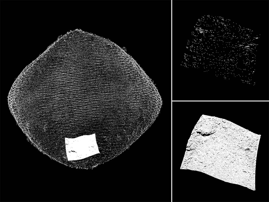 The same area of asteroid Bennu's surface – a potential sample site known as Sandpiper – was measured by each of OLA's lasers. OLA's high-energy laser transmitter (HELT) captured its measurements from a distance of 5 kilometres (top right). OLA's low-energy laser transmitter (LELT) captured the details of the site's boulders and craters from a distance of only 700 metres (bottom right).  Image creation: Michael Daly, Centre for Research in Earth and Space Science, York University.